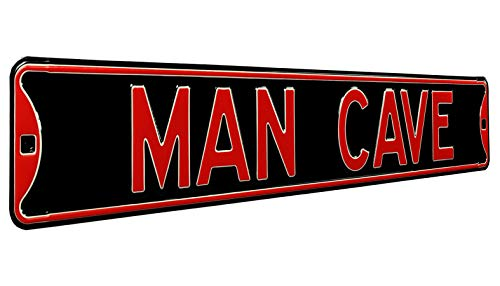 "Authentic Street Signs ""Man Cave Steel Sign, Black/Red from Authentic Street Signs"