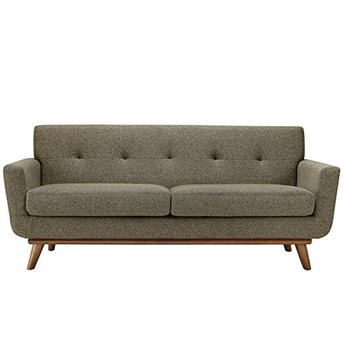 Modway Engage Mid-Century Modern Upholstered Fabric Loveseat In Oatmeal Wholesale Interiors Living Room Loveseat