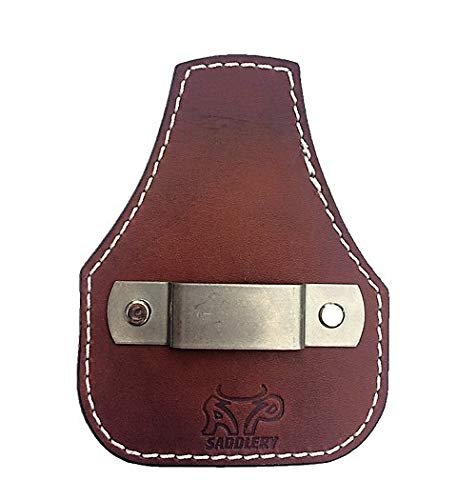 - Low Profile Leather Tape Measure Holder with Belt Clip (Dark Brown)