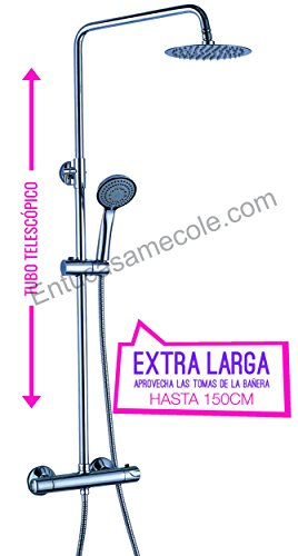 OXEN ® 121574 - Columna de ducha redonda con termostática (extra larga)