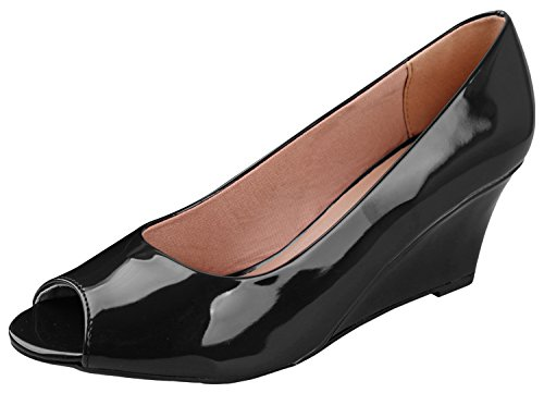 Forever Link Women's DORIS-23 Faux Leather Mid Heel Round Toe Wedge Pumps Black 8 - Mid Heel Leather Insoles