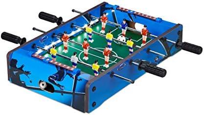 Relaxdays Futbolín de Mesa, con luz led, Mini Juego para Niños y Adultos, 4 Barras y 2 Pelotas, DM-Plástico, Azul: Amazon.es: Juguetes y juegos