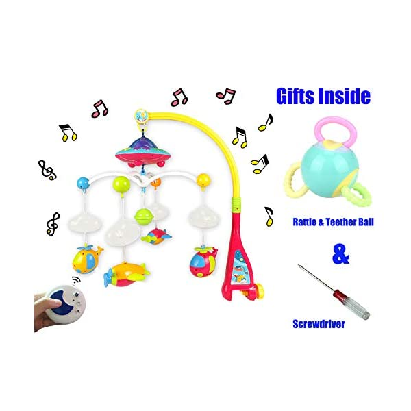 Baby Musical Mobile Crib,Baby Crib Decoration Newborn Gift,Projector Night Light Timing Function with 360°Rotating,108 Melodies Music Box with Remote Control Take-Along Rattle