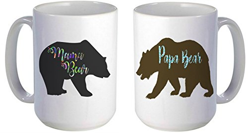 Mama and Papa Bears Coffee Mug Set / Original mugs by For You By Rose / Perfect Birthday Gifts for Mom and Dad, Anniversary Gifts, New Parents Gifts, Dad to be Gifts, Dad and Mom Mugs Her Grandparents - Berenstain Bears Sister Bear Costume