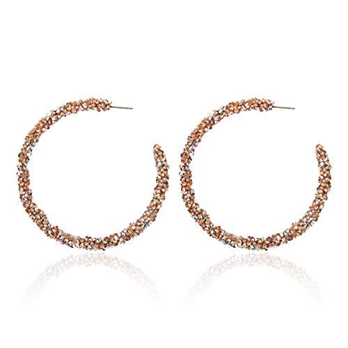(RIAH FASHION Sparkly Geometric Rhinestone Chandelier Hoop Statement Earrings - Cubic Zirconia Crystal Bridal Duster Dangles Fringe Tassel/Waterfall Drape/Circle Ring (Sparkly Crystal Hoops - Peach))
