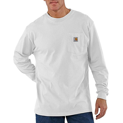 Carhartt Men's Big and Workwear Pocket LS Jersey K126, White, (Jersey Pocket Tee)