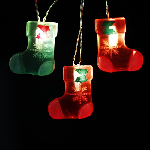 (Impress Life Christmas Eve Stocking Decorations String Lights, 10ft 20LED 3D Sock-Shaped Ornaments Battery Operated with Remote for Xmas Tree, Fireplace Mantel, Bedpost, Porch, House, Birthday Party)