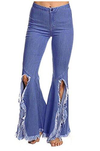 Alta Irregolare Jean Blu Jeans È Tassel Donne Vita Tratto Fanvans YTF1qxw5