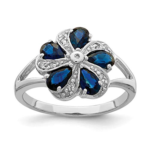 - IceCarats 925 Sterling Silver Sapphire Diamond Band Ring Size 6.00 Stone Flowers/leaf Gemstone