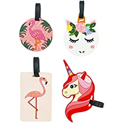 EP Queen Travel Luggage Tags,Travel ID Labels Tag Name Card Holders For Suitcase (Flamingo,Unicorn)