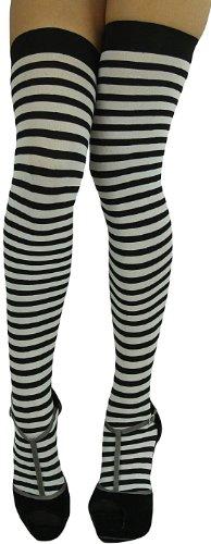 ToBeInStyle Women's Striped Two Tone Thigh Hi Stockings - One Size - Black w/ White Stripes