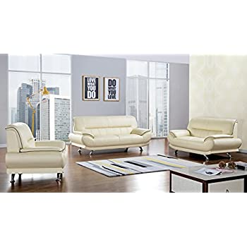 Beau American Eagle Furniture 3 Piece Arcadia Collection Complete Genuine  Leather Living Room Sofa Set, Ivory