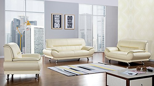 American Eagle Furniture 3 Piece Arcadia Collection Complete Genuine Leather Living Room Sofa Set, Ivory