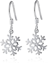 """""""Snowflake""""925 Sterling Silver High-Polished Drop Dangle Earrings Lovely Gift for Girls"""