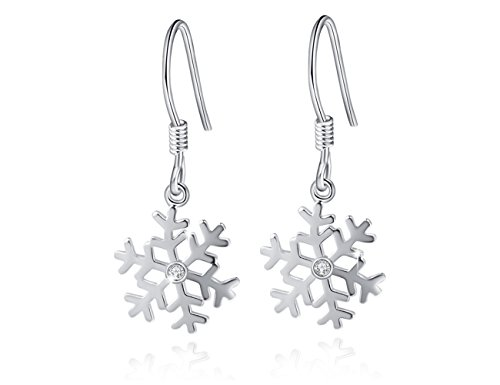 Snowflake 925 Sterling Silver High-Polished Drop Dangle Earrings Gift for Girls (Hook Earrings) ()