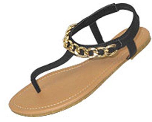 Femmes T Sangle Gladiateur Sandales Flats Chaussures W / Chaîne Embellissement (5/6, Noir / Or 6331)