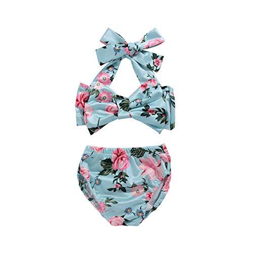 Newborn Baby Girls Floral Bathing Suit, Bowknot Top + Short Bottom 2PCS - Girl Swimsuits Newborn