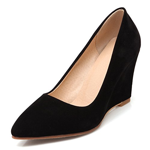 fereshte Women's Suede Pointed-Toe Wedge Heel Working Pumps Shoes Black