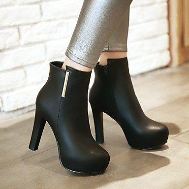 LFNLYX Mujer-Tacón Robusto-Plataforma / Botas a la Moda-Botas-Vestido-Semicuero-Negro / Gris gray