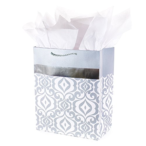 - Hallmark Large Gift Bag with Tissue Paper (Metallic Silver Scroll Work)