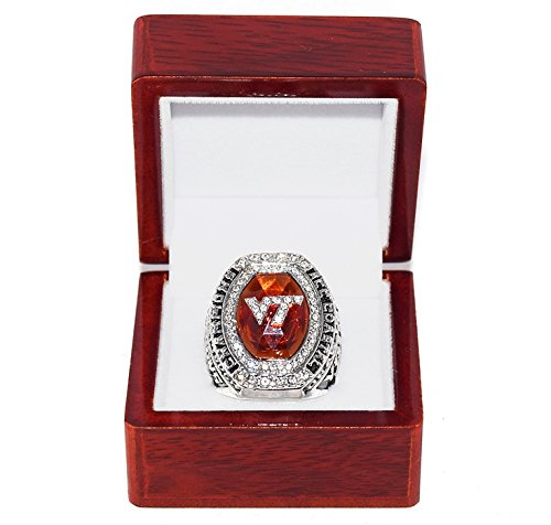 VIRGINIA TECH HOKIES (Trent Young) 2016 ACC COASTAL CHAMPIONS (Draw the Line) Collectible High-Quality Replica NCAA Football Silver Championship Ring with Cherrywood Display Box ()