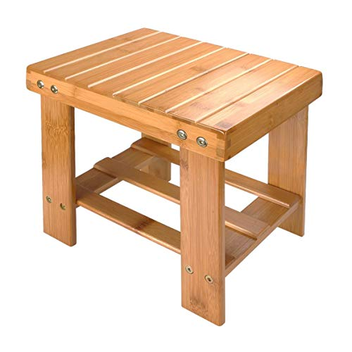 A+Selected Bamboo Step Stool, 10 inch Wooden Foot Stool for Mudroom Foyer Entryway Shoe Bench (Wooden Storage Natural Bench All)