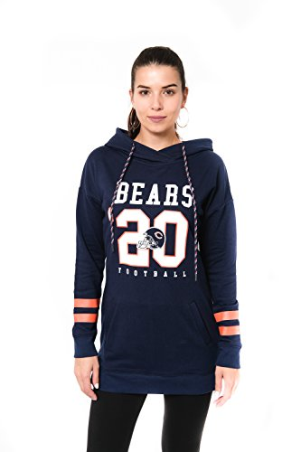 NFL Women's Chicago Bears Tunic Hoodie Pullover Sweatshirt Terry, Large, (Chicago Tunic)