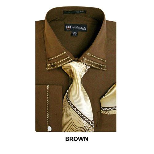 - Milano Moda Fashion Shirt with Tie, Hankie & French Cuffs SG28-Brown-18-18 1/2-36-37