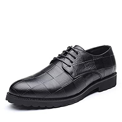 2019 Mens New Lace-up Flats Men's Business Oxford Shoes, Casual Classic Grid Pattern Pointed Lace up British Style Leisure Shoes (Color : Black, Size : 5 UK)