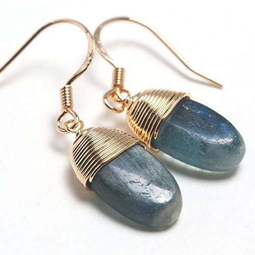 Natural Stone Wire Wrap Dangle Drop Earrings Gold Plated 925 Sterling Silver Hook/Kyanite Oval
