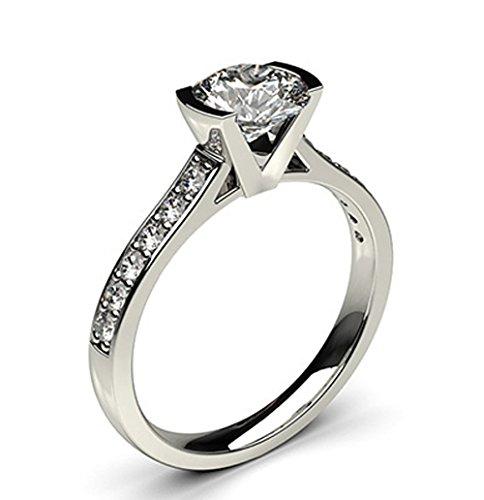 18K White Gold (HallMarked), Round Cut Semi Bezel Setting Medium Side White Diamond Engagement Wedding Ring Size - 7.25