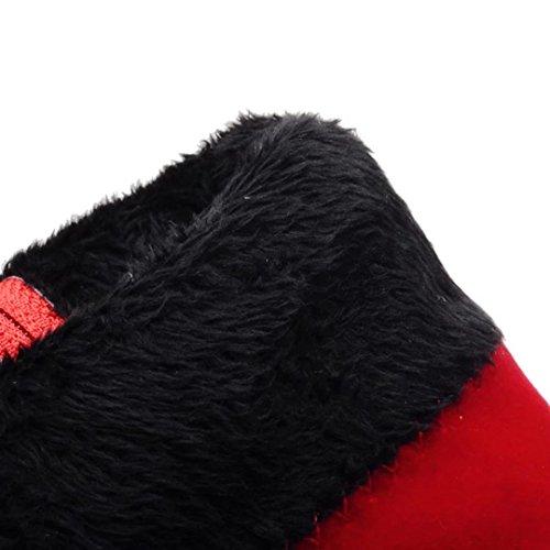 Aiyoumei Scarpe Da Donna A Punta Stivaletti Autunno Inverno Con Strass Rosso