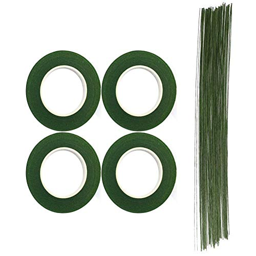 CCINEE Floral Arrangment Kits 4 Rolls 1/2 Inch Dark Green Floral Tapes with 20pcs 18 Guage Green Floral Wire 16 Inch for Floral Crafts