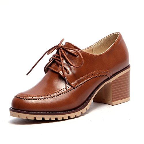 Estilo británico de zapatos de primavera y verano/profundos vínculos con zapatos casuales/Zapatos de mujer tacones gruesos C