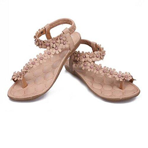 paradise Beige Bohemian plana cuentas Fashion flor Herringbone Secret Sweet sandalias Toe Mujer beige Clip Aw7dxTT
