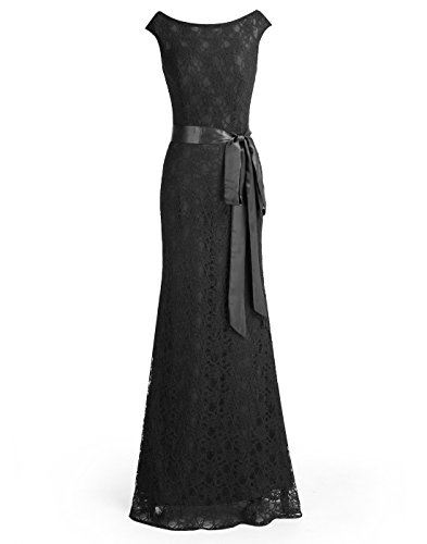 Wedtrend Women's Retro Floral Lace Bridesmaid Dress Cap Sleeves Maxi Evening Dress WT11043Black16 ()