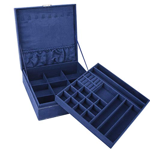 Autoark Two-Layer Lint Jewelry Box Organizer Square Display Storage Case with Lock,Removable Partition for Necklace Earrings Bracelets Rings Watches and Accessories Case,Navy Blue,AW-045