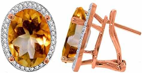 8d570da2b Galaxy Gold 9.76 CTW 14K Solid Rose Gold Oval Citrine Diamond Earrings