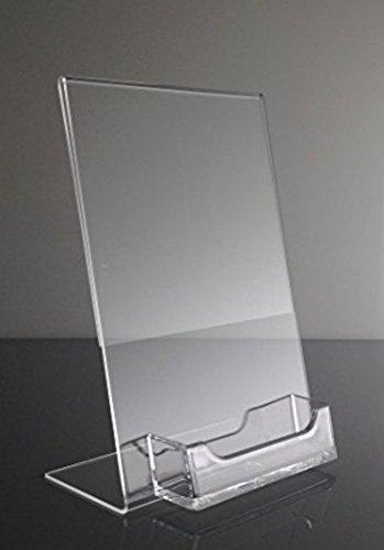 10 Pack of T'z Tagz Brand Acrylic 5x7 Sign Holder with Business Card (Sign Card Holder)