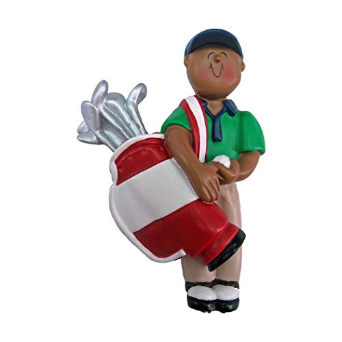 (Personalized Golfer Boy Christmas Tree Ornament 2019 - African-American Man Player Hold Bag of Clubs Golf Ball Profession Member Hobby Caddy Amateurs Black - Free Customization (Male)