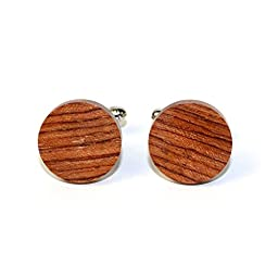 Hand Made Wooden Cuff Links - MADE IN THE USA - variety of colors (Bubinga)