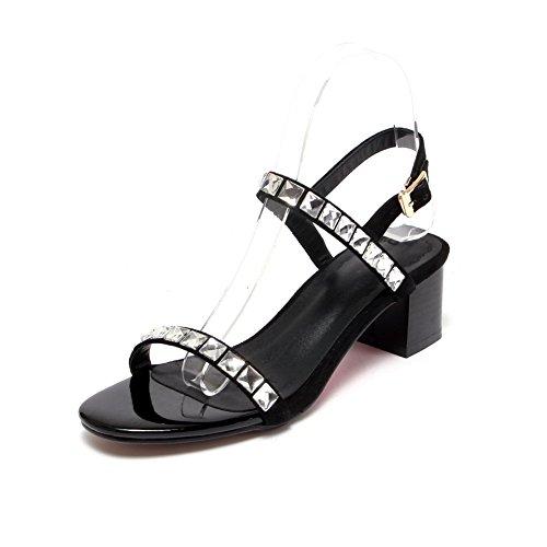 Agoolar punta Donna e montone sandalo aperta fibbia aperto unita tacco con largo tinta xx60w1p