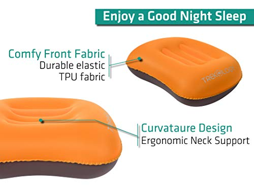 Trekology Ultralight Inflating Travel / Camping Pillows – Compressible, Compact, Inflatable, Comfortable, Ergonomic Pillow for Neck & Lumbar Support and a Good Night Sleep while Camp, Backpacking