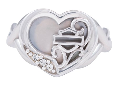 ns .925 Silver Mother of Pearl Filigree Heart Ring (7) ()