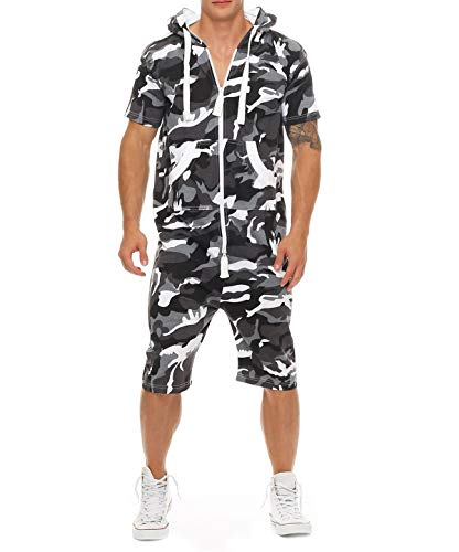 jumpjisper Mens Rompers Jumpsuits Shortsleeve One Piece Drawstring Hooded Tracksuits Casual Coverall Playsuits with Pockets (Black-White, - Drawstring Tracksuit