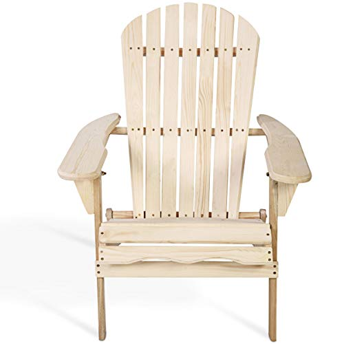 Giantex Outdoor Natural Fir Wood Adirondack Chair Patio Lawn Deck Garden Furniture