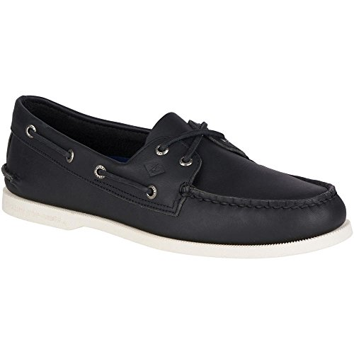 Sperry Top-Sider Men's a/o 2-Eye Boat Shoe, Black/White, 8 M US