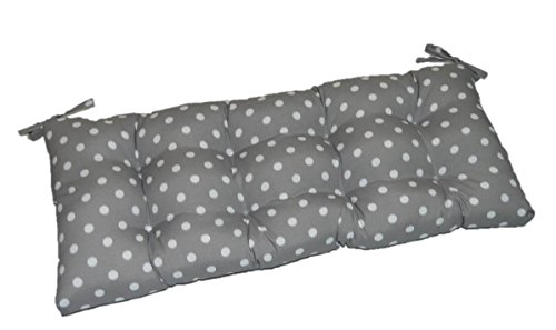 Gray / Grey & White Ikat Polka Dot Indoor / Outdoor Tufted Cushion with Ties for Bench, Swing, Glider - Choose Size (39