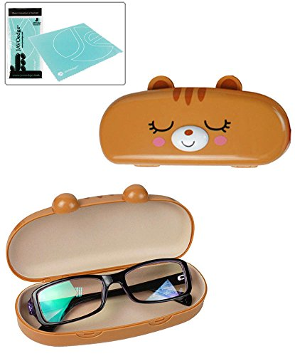 JAVOedge Hard Shell Brown Cute Cartoon Cat Face Eyeglass Case, Bonus Free Soft Microfiber Lens Cleaning Cloth