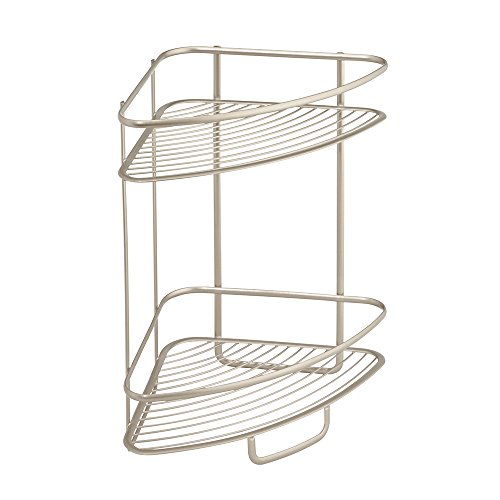 InterDesign Axis Free Standing Bathroom or Shower Corner Storage Shelves for Towels, Soap, Shampoo, Lotion, Accessories - 2 Tier, Satin